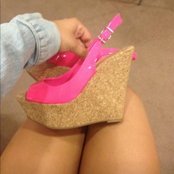 354f9ec51aa Jessica Simpson hot pink cork wedges